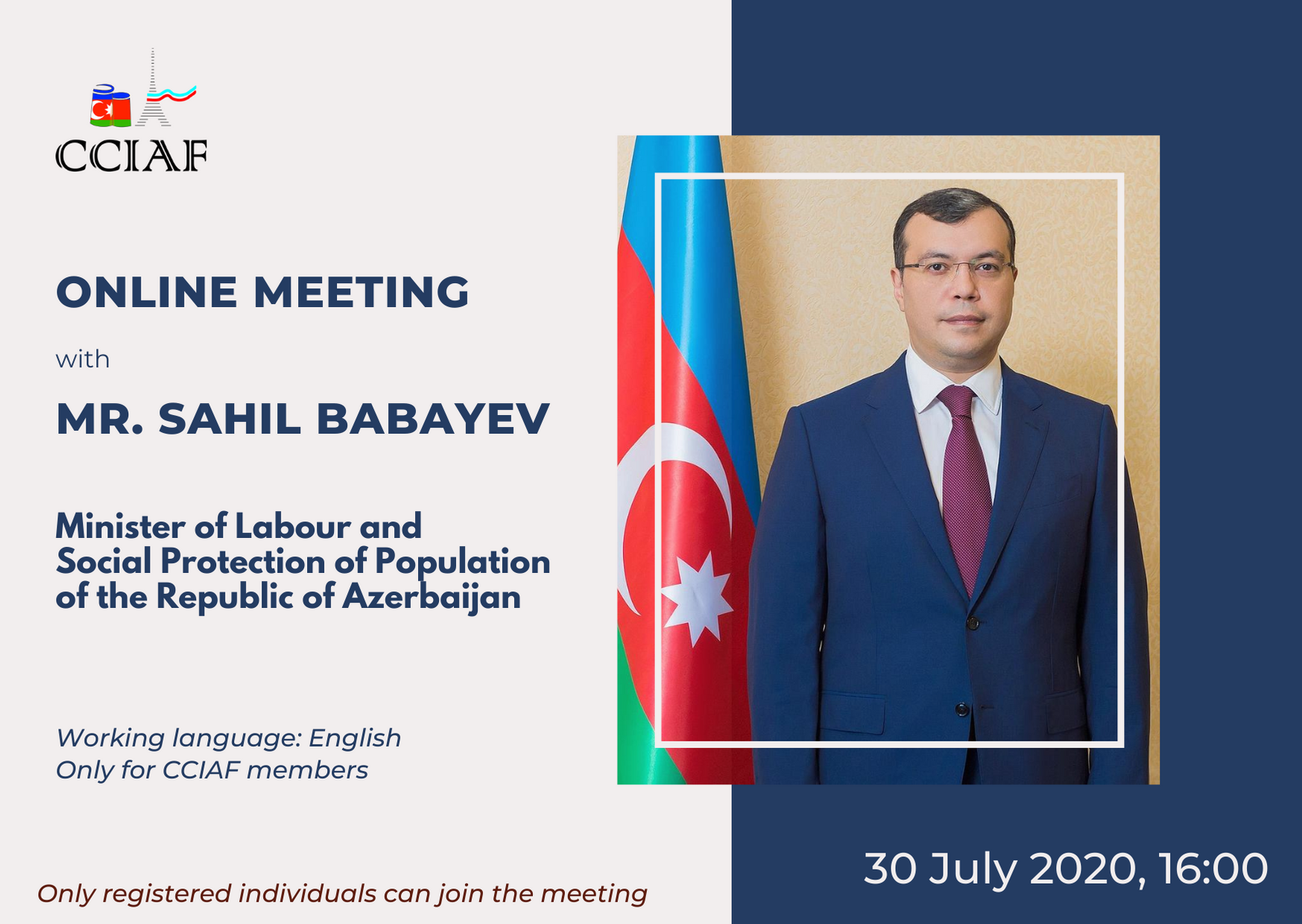 CCIAF held an online meeting with the Minister of Labour and Social Protection of Population of Azerbaijan